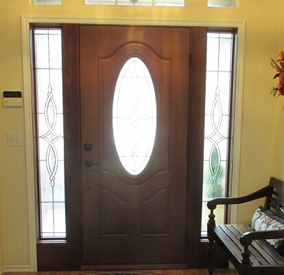 interior view of fiberglass entry door replacement with decorative sidelights