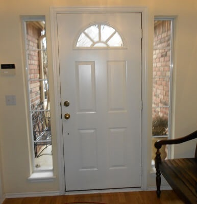 interior view of old fiberglass entry door