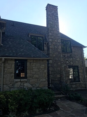 side image of tulsa ok home with new wood casement windows