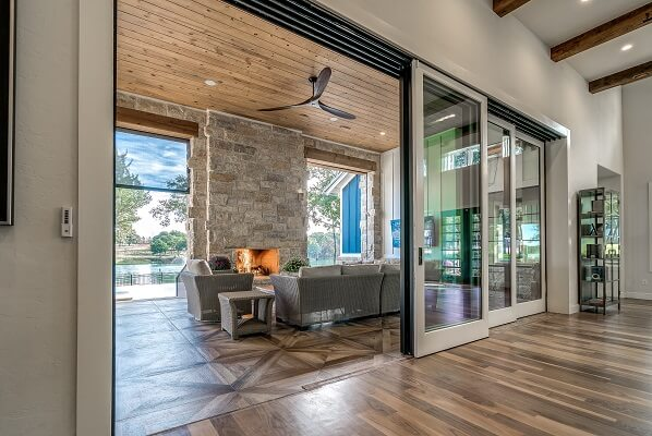 multi-slide patio door opening in oklahoma home