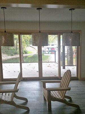 interior view of wood sliding patio doors on the first floor