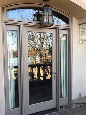 close up of balcony hinged patio door