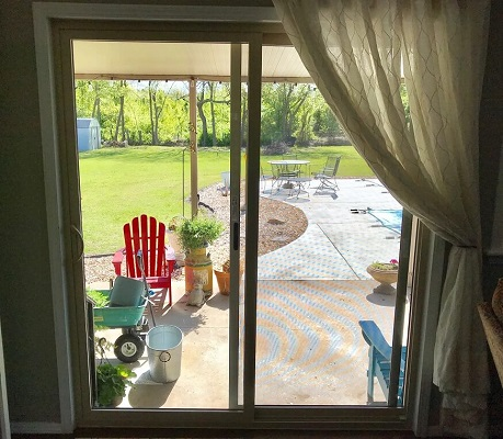 interior of vinyl sliding patio door replacement