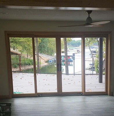 interior view of sliding patio door