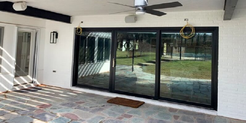 large 3 panel sliding door