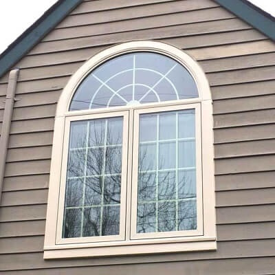 wood casement window with overhead arch