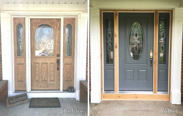 before and after entry door upgrade to fiberglass