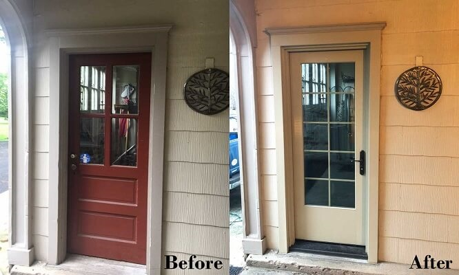 before and after entry door replacement project