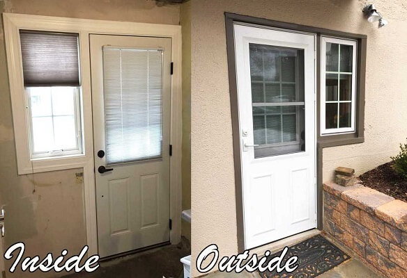 new fiberglass entry door with a new storm door