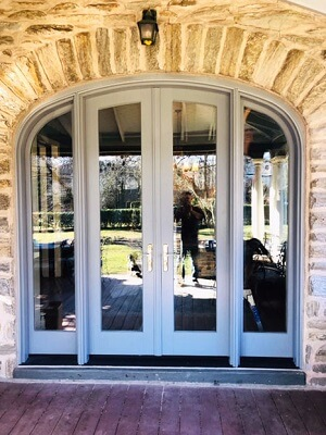 custom french patio door with arched top in Phillt