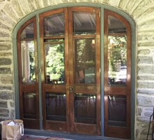 before image of bryn mawr home with new hinged patio door