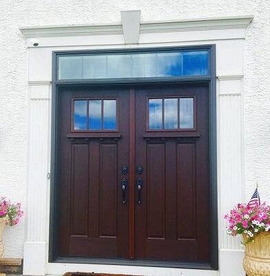 new fiberglass entry door with woodgrain