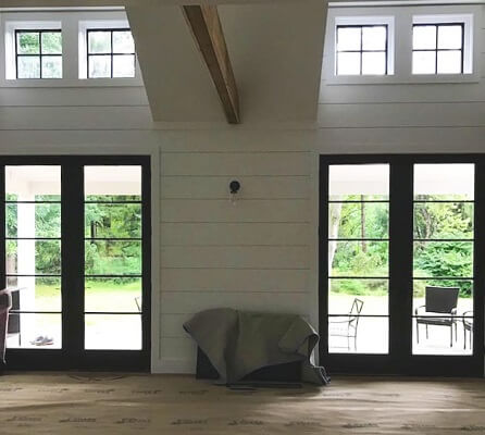 patio door view of ft washington new addition with new wood pella windows and doors