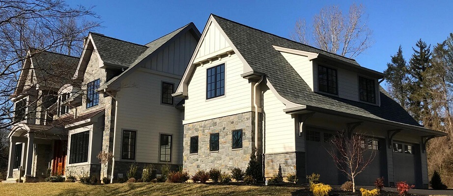 new construction home in haverford has new wood casement windows
