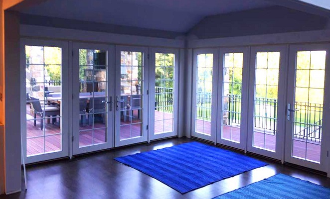 interior shot of hinged french patio doors