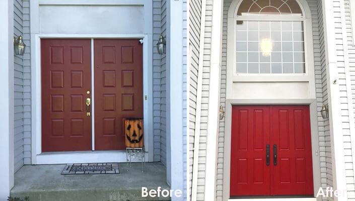 Red Fiberglass Entry Door Adds Pop Of Color To