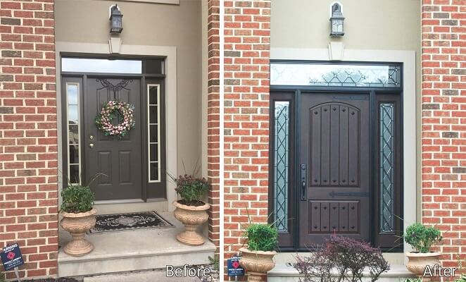 New fiberglass entry door with high end look for High end exterior doors