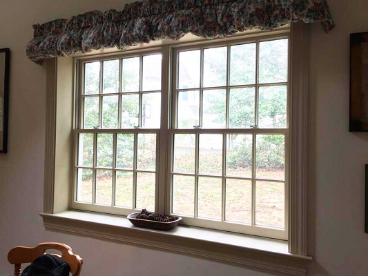 wood double-hung kitchen window