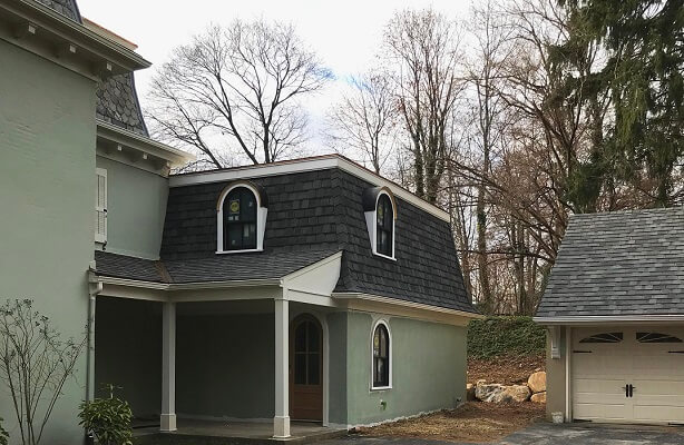 back view of wayne home with new wood windows