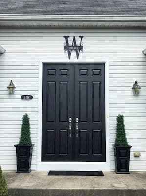 black entrance door