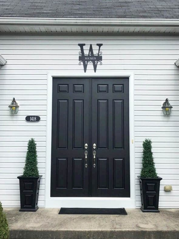 Exterior view of double six-panel fiberglass entry doors