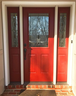 after image of wilmington home with new red fiberglass entry door