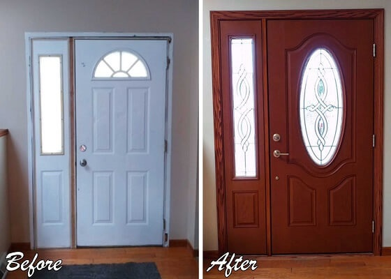 interior view of entry door replacement