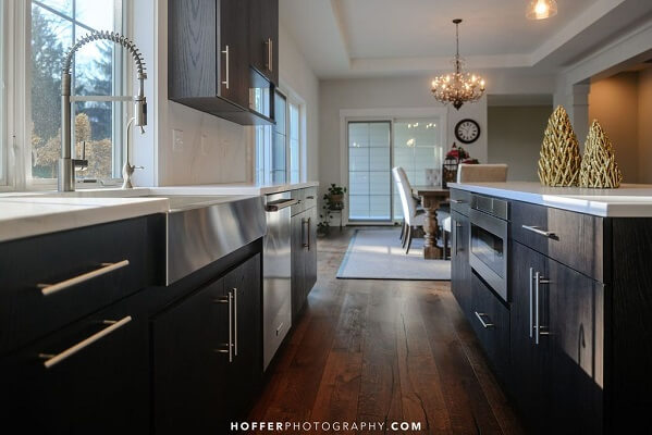 white windows in black kitchen