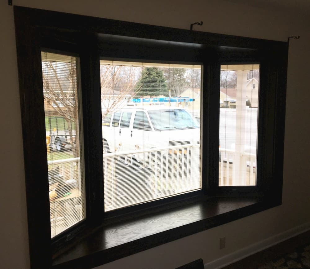 Interior view of new wood bay window
