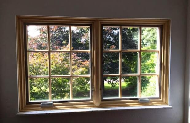 Wood Replacement Windows with Natural Stain inside