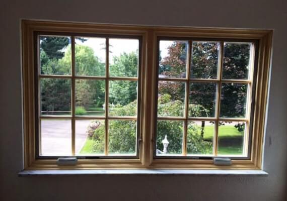 Wood Replacement Windows with Natural Stain on the inside