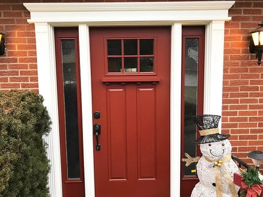after image of warrendale home with new red fiberglass entry door