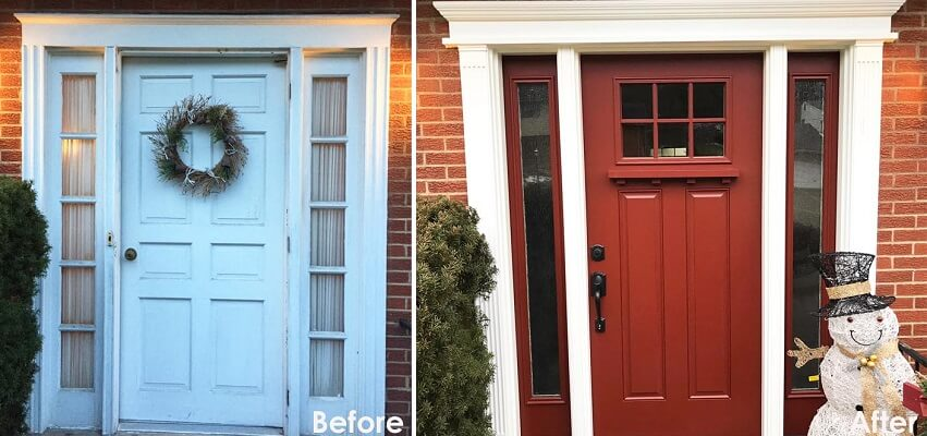 Red Fiberglass Entry Door Replacement For Warrendale Home
