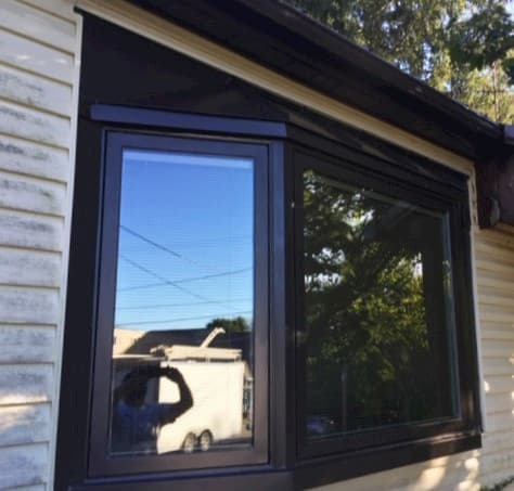 Exterior view of aluminum clad wood bay window