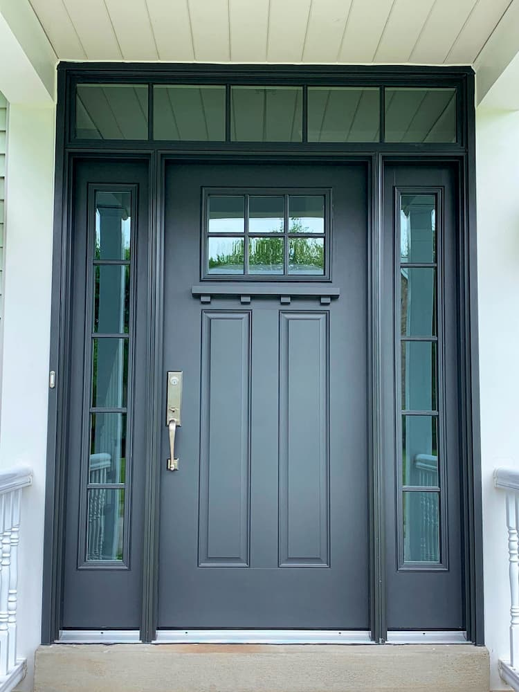New gray fiberglass entry door system on Cranberry, Pennsylvania, home.