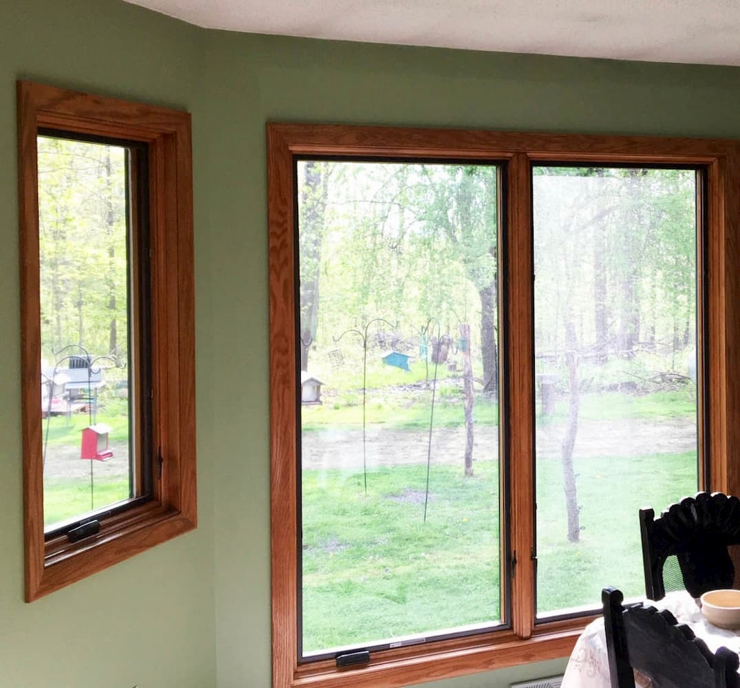 Interior view of new wood casement windows in Erie, Pennsylvania, home.