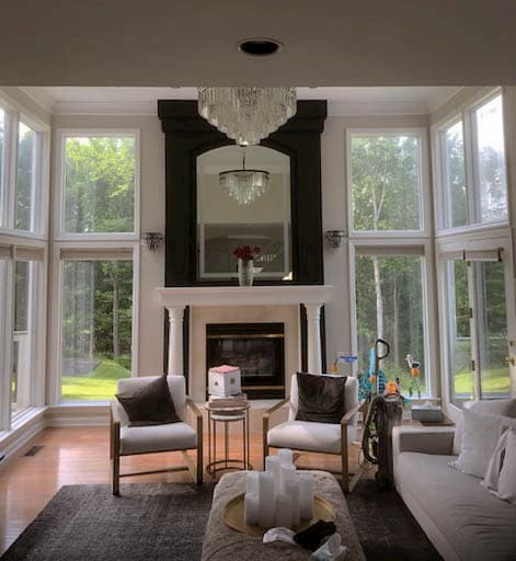 Interior view of white fixed windows