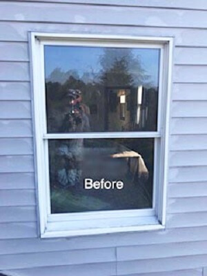 before image of pittsburgh home with new wood double hung window