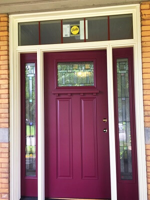 after image of pittsburgh home getting new bright fiberglass entry door