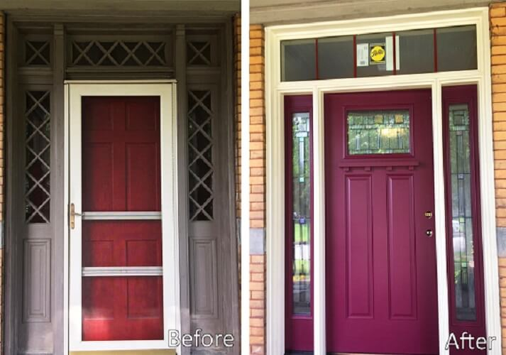 Fiberglass Entry Door Gives 95 Year Old Home Pop of Color