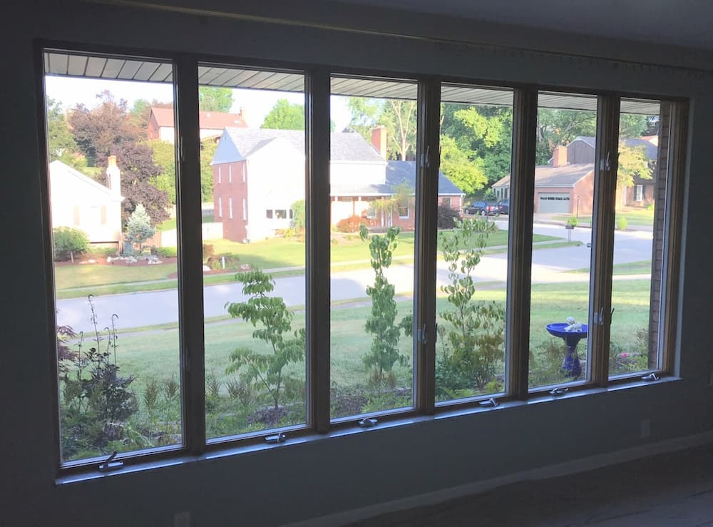 Interior view of a series of casement windows