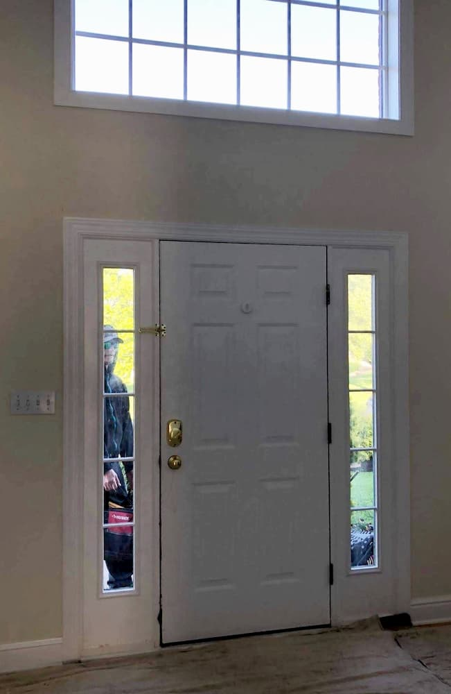 Old white entry door system