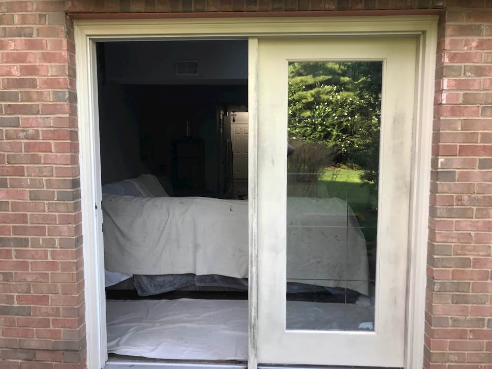 Exterior view of old hinged patio door