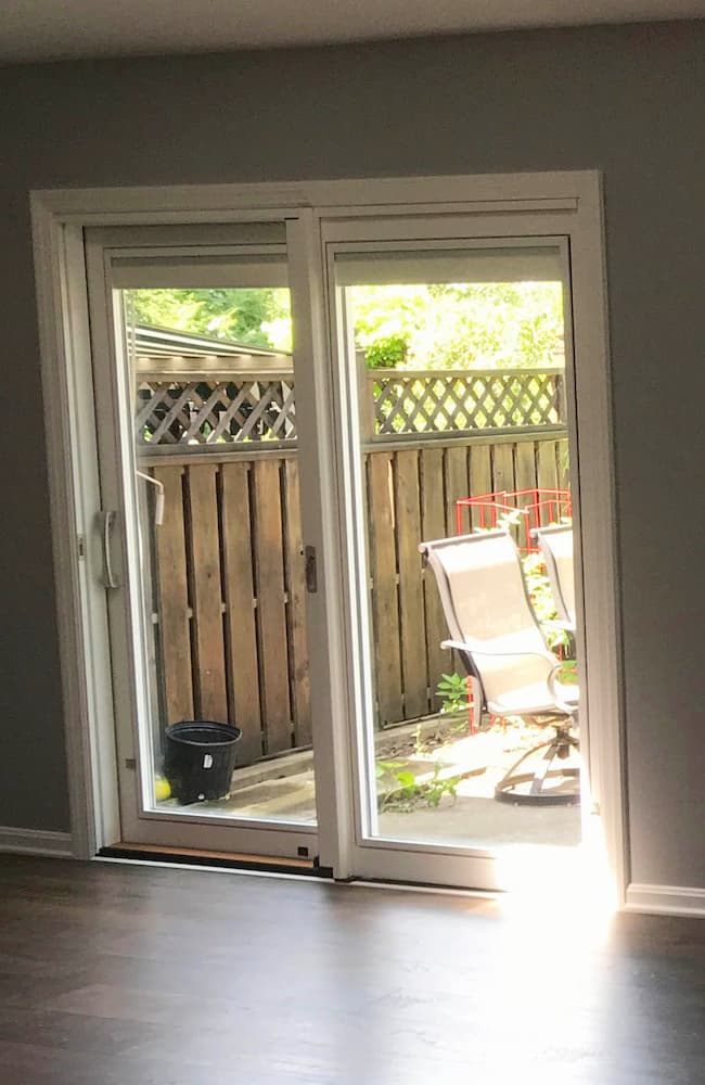 Interior view of wood sliding patio door