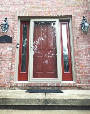 after image of red fiberglass entry door in warrendale home