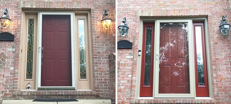 Red Fiberglass Entry Door Brightens Up Warrendale Home