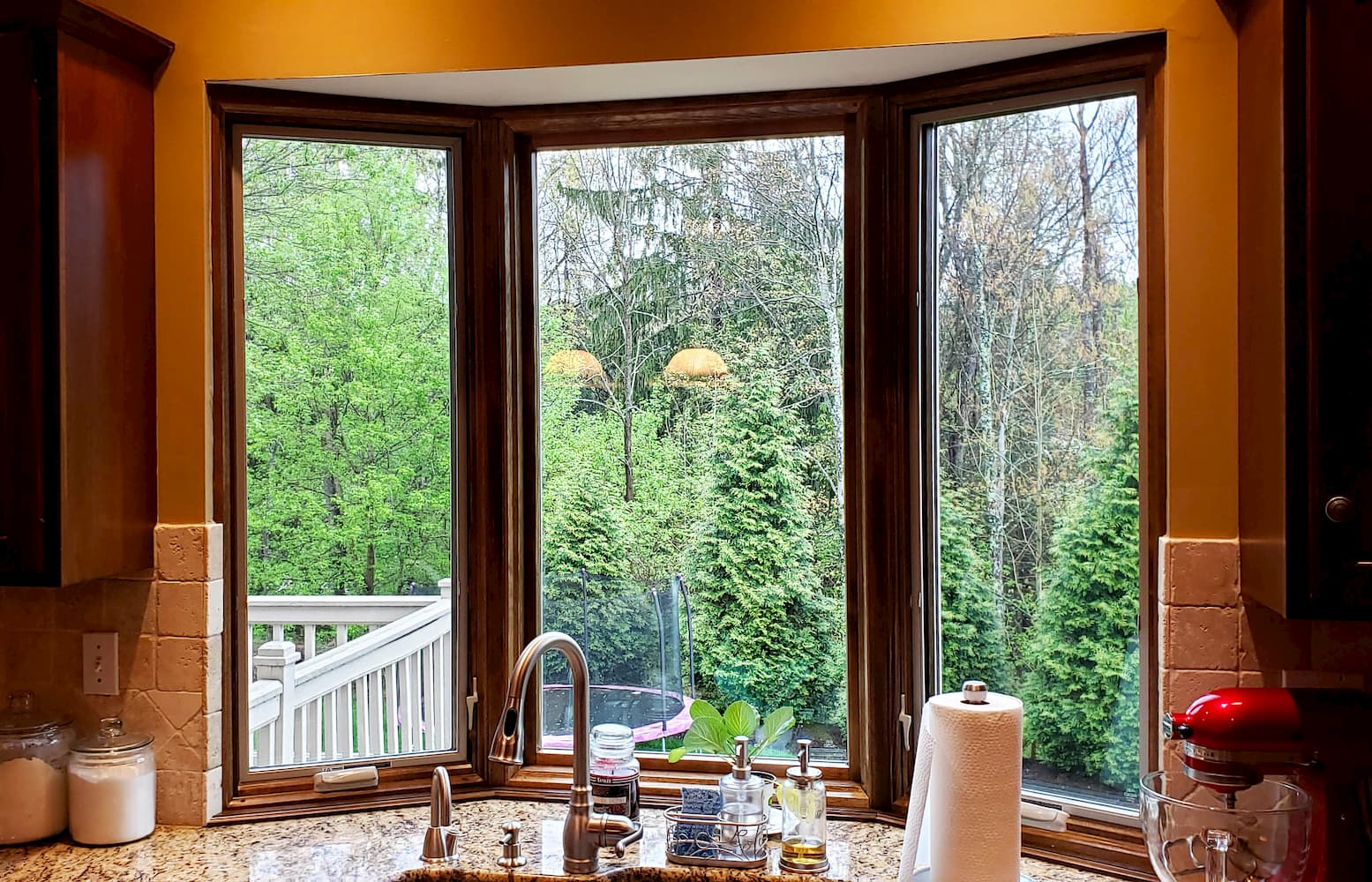 Interior view of new wood bay window over kitchen sink
