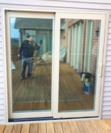 Exterior view of new clad-wood sliding patio door