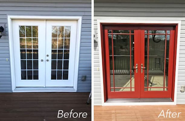 New Patio Door Provides Natural Light and a Pop of Color