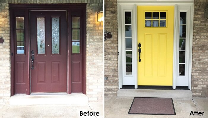 Dull Entry Door Replaced By Yellow Fiberglass Entry Door